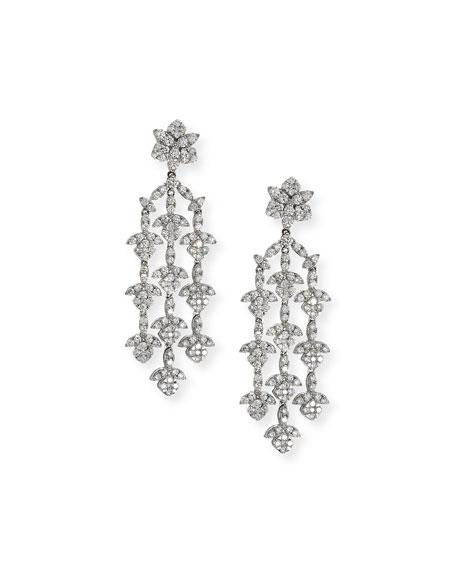 Bessa Dangling 18K White Gold Three-Strand Diamond Earrings