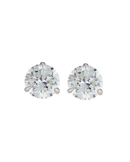 18k White Gold Diamond Stud Earrings, 1.49ct G-H/SI1