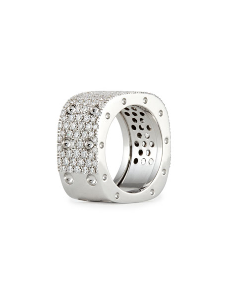 Roberto Coin Pois Moi 18k White Gold & White Diamond 2-Row Ring