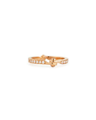 18K Rose Gold Diamond Handcuff Band Ring  Size 7.5
