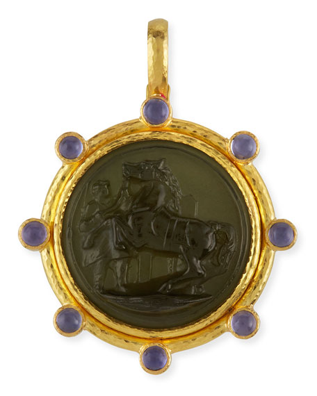 Ancient Horse 19k Gold Intaglio Pendant, Smoke