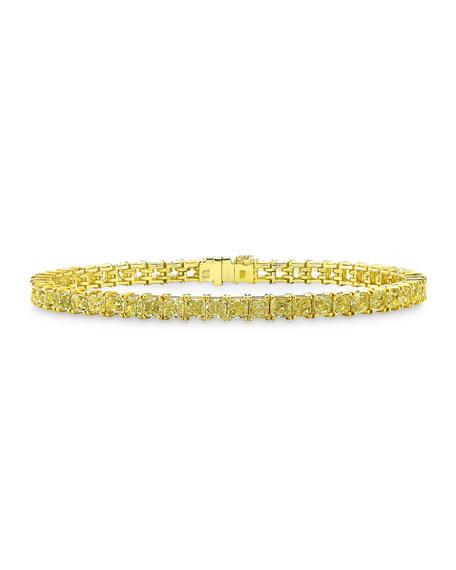 Rahaminov Diamonds 18k Gold Fancy Yellow Diamond Line Tennis Bracelet