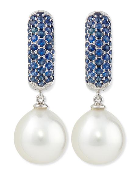 Belpearl Aura Sapphire & White Pearl Earrings
