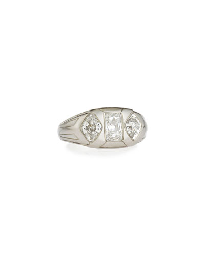 Estate Art Deco Lozenge & Emerald-Cut Diamond Gents Ring  Size 10