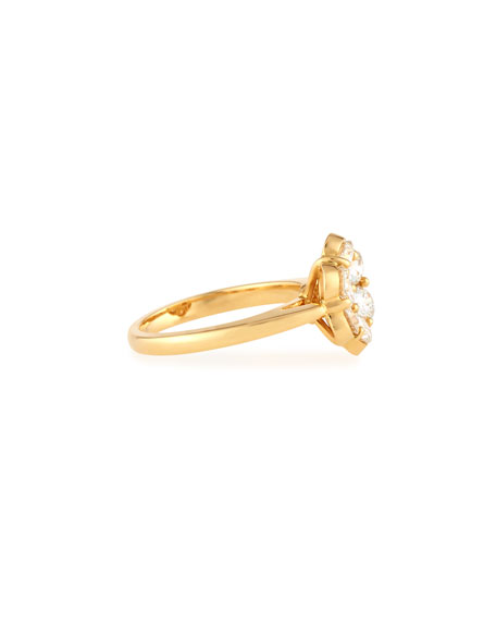 Bayco 18K Yellow Gold & Diamond Flower Ring, Size 6