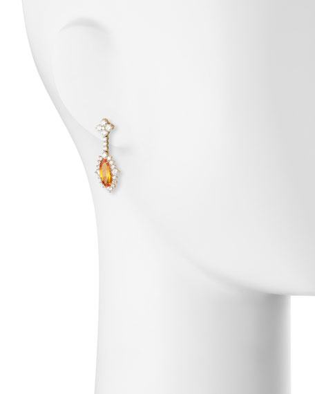 Robert Erich 18K Yellow Gold Mandarin Garnet & Diamond Drop Earrings