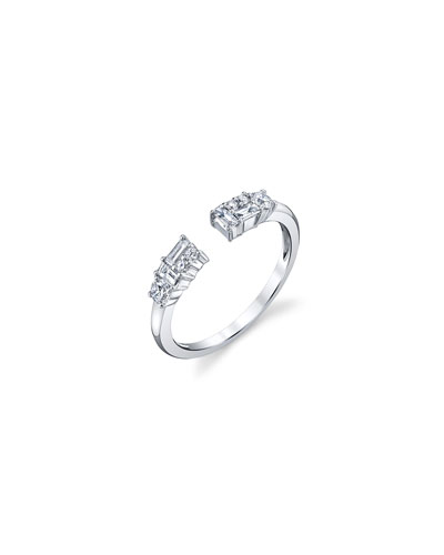 Open Mixed-Cut Diamond Ring in 18K White Gold  Size 6.75