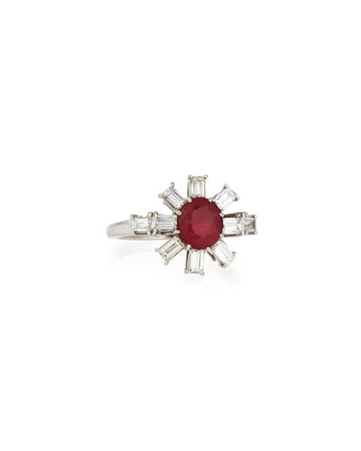 Estate Art Deco Diamond Spoke & Burma Ruby Ring  Size 5.5