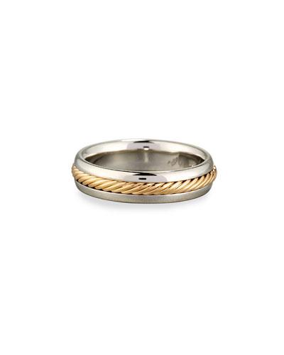 Gents Braided Platinum & 18K Gold Wedding Band Ring  Size 10