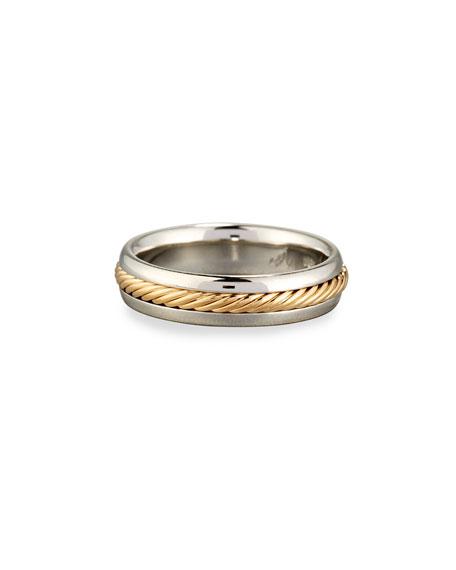 Eli Gents Braided Platinum & 18K Gold Wedding Band Ring, Size 10