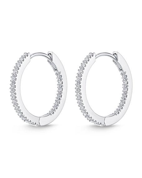 Eternity Hoop Earrings in 18K White Gold, 0.33 tdcw