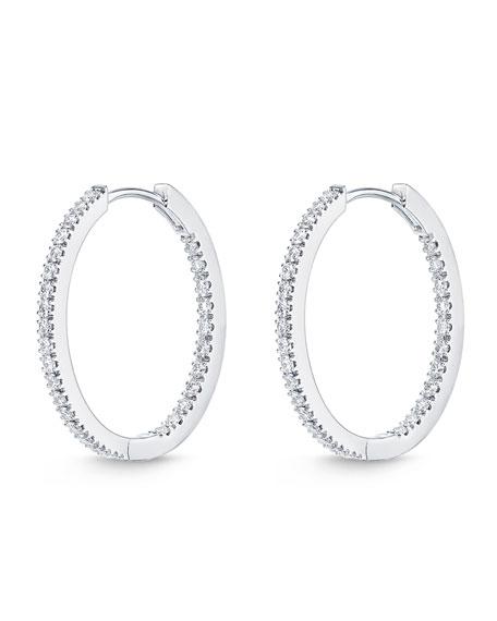 Diamond Eternity Hoop Earrings in 18K White Gold