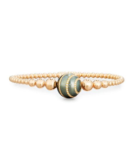 Beaded Bracelet in 18K Rose Gold with Diamond-Striped Pearl