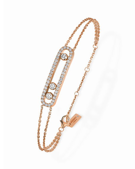 Baby Move Pavé Diamond Station Two-Strand Chain Bracelet in 18K Rose Gold