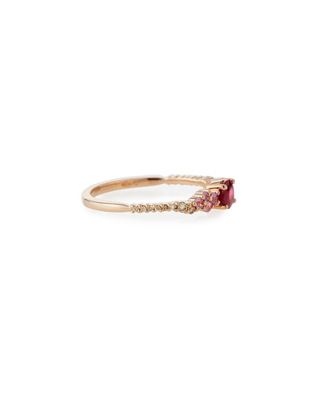 Ruby, Pink Sapphire & Diamond Ring in 18K Rose Gold, Size 6.5