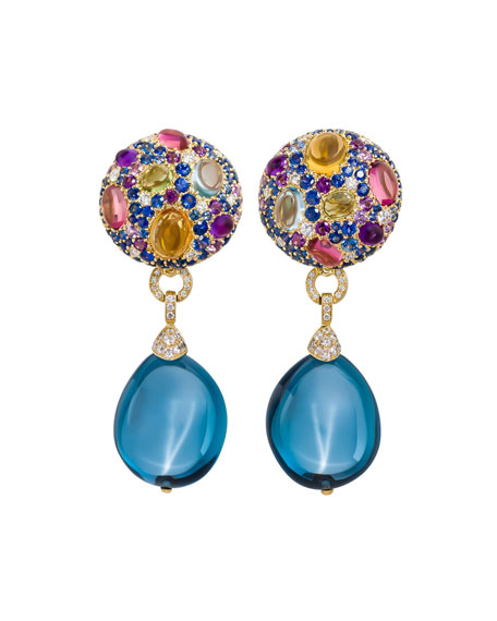 Carnivale Denim Blue Topaz Earrings with Diamonds