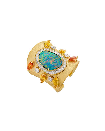 Opal & Diamond Ring with Sapphires