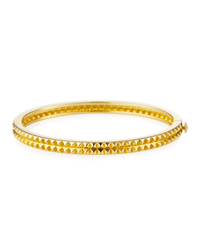 Pyramid-Stud Rock & Diamond Bangle in 18K Yellow Gold