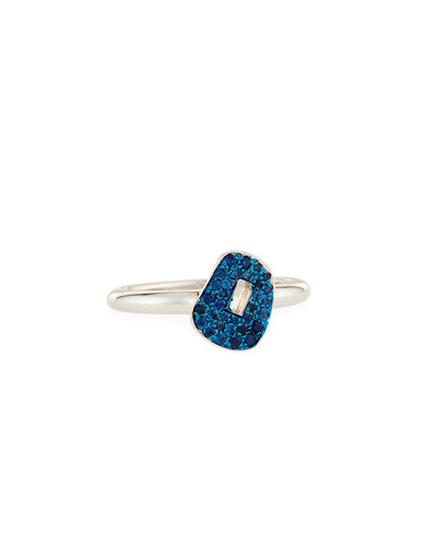 Puzzle Blue Sapphire Ring in 18K White Gold