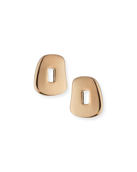 Trapezoid Puzzle Stud Earrings in 18K Rose Gold