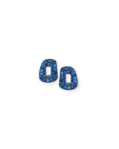 Mattioli Puzzle Pavé Blue Sapphire Stud Earrings in