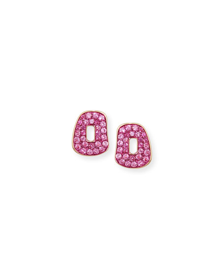 Puzzle Pavé Pink Sapphire Stud Earrings in 18K Rose Gold