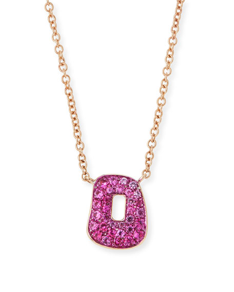 Puzzle Pink Sapphire Pendant Necklace in 18K Rose Gold