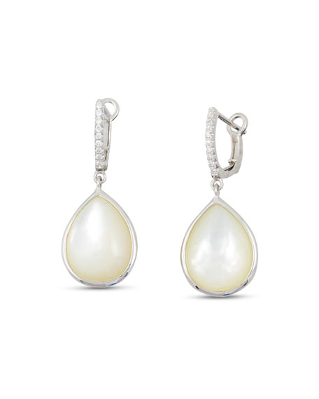 Luna White Mother-of-Pearl Earrings with Diamonds in 18K White Gold