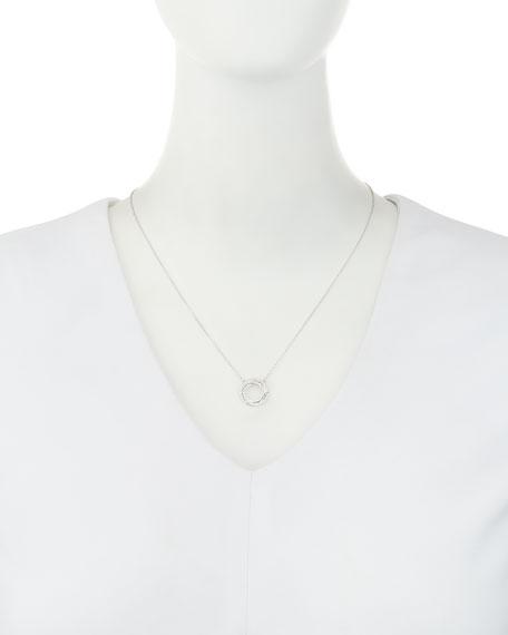Small Twist Diamond Halo Necklace in 18K White Gold