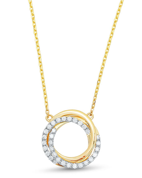 Frederic Sage Small Twist Diamond Halo Necklace in