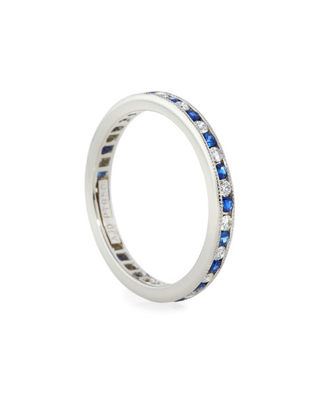 NM Diamond Collection Channel-Set Diamond & Sapphire Band Ring in Platinum, Size 7