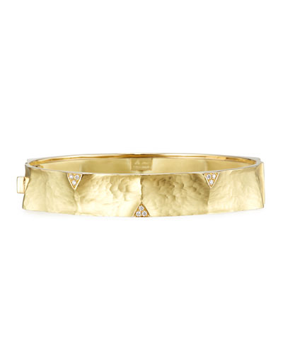 Hammered 18K Gold Bangle with Diamond Triangles