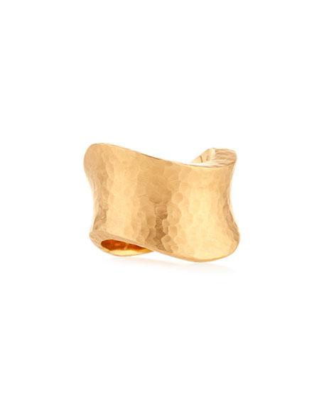 Onda Wave Hammered 18K Rose Gold Ring, Size 7.5
