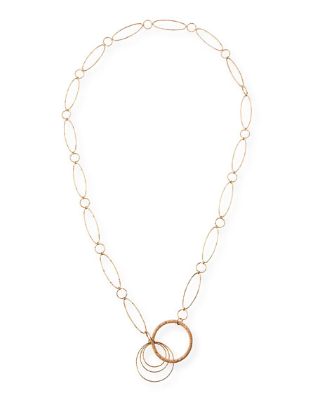 18K Rose Gold Oval Link Necklace with Brown Diamonds, 36""
