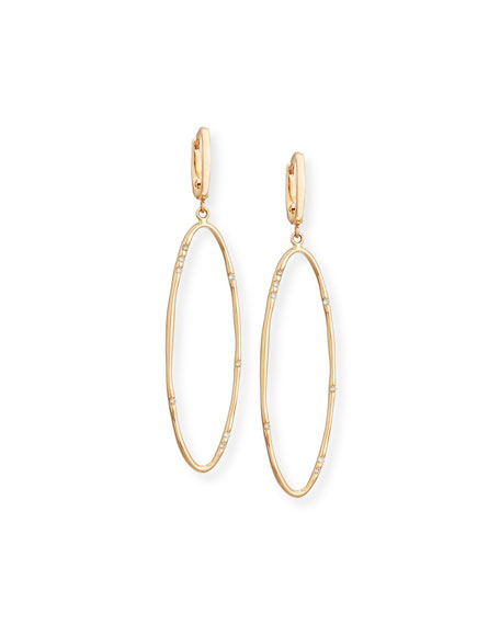 Elongated Oval Drop Earrings with Diamonds