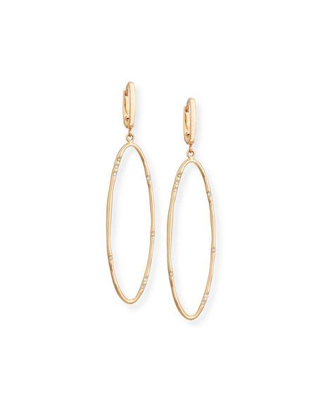 Elongated Oval Drop Earrings with Diamonds
