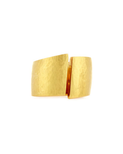 Hammered Split-Center Ring in 18K Gold, Size 8