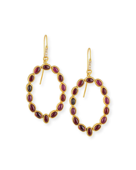 Gurhan Amulet Hue Ruby Cabochon Drop Earrings with Diamonds