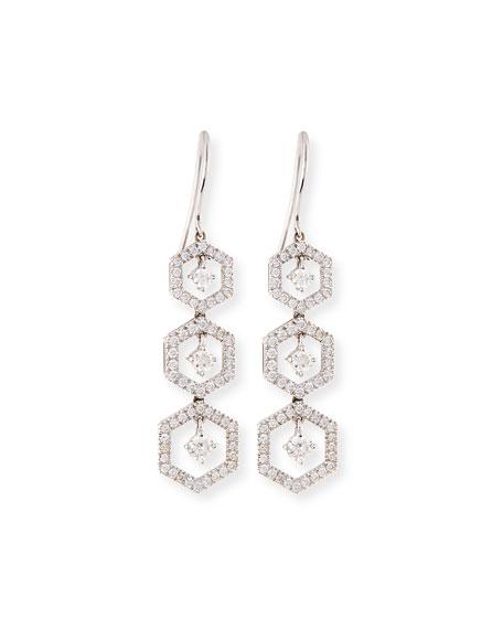 Hexagon Snowflake Drop Earrings with Diamonds