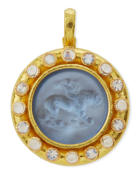 Elizabeth Locke Cupid Riding Lion Venetian Glass Intaglio