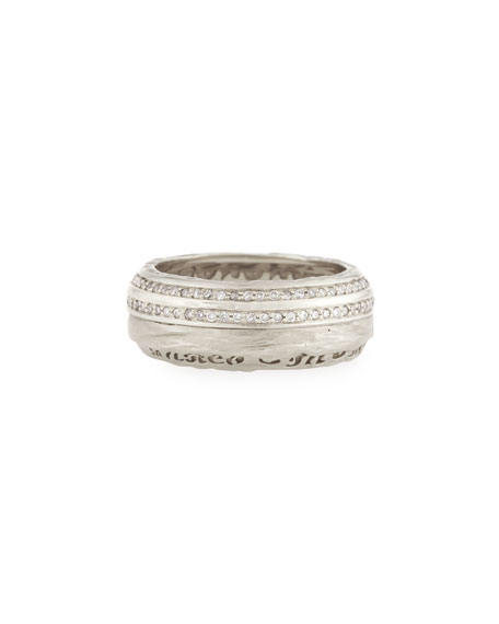 The Other Half Men's 18K White Gold Band Ring with Diamonds, Size 10