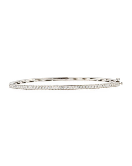 18K White Gold Milgrain Diamond Bangle