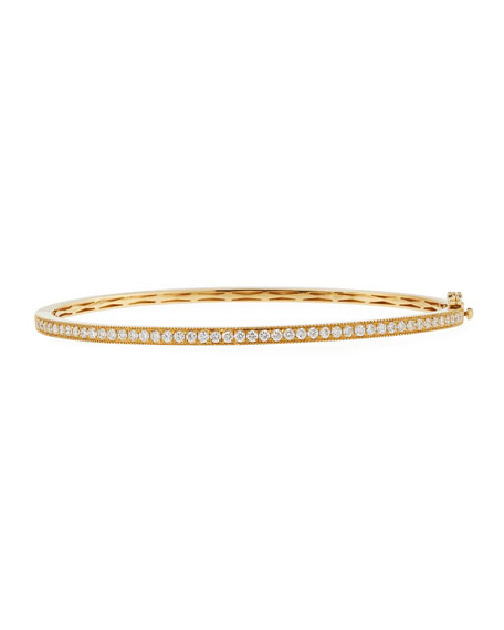 18K Yellow Gold Milgrain Diamond Bangle