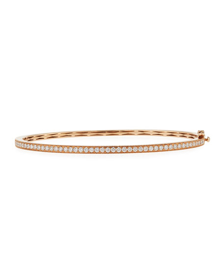 18K Rose Gold Milgrain Diamond Bangle