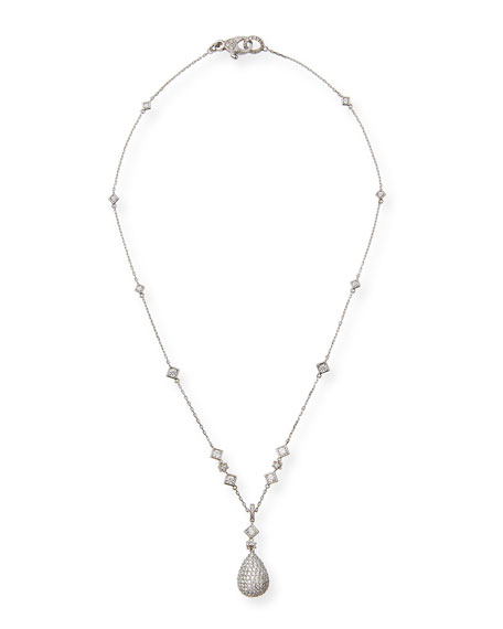 Gocce Diamond Pendant Necklace in 18K White Gold