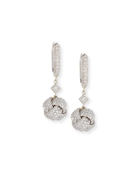 Nodi Diamond Drop Earrings in 18K White Gold