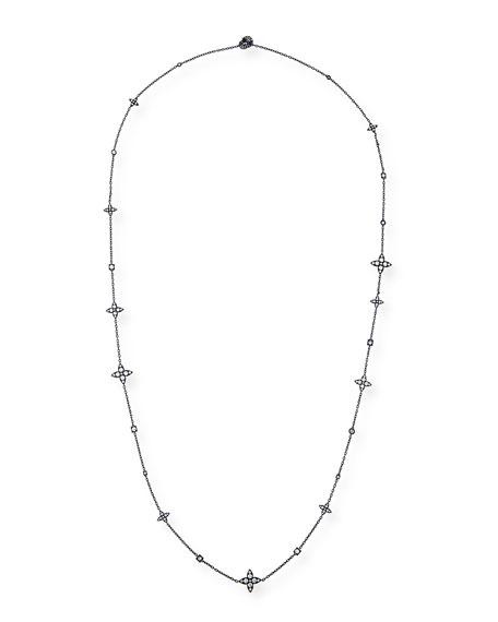 Lucilla Quatrefoil Diamond Station Necklace in 18K Blue Gold