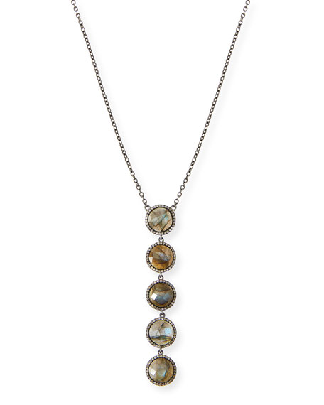Linear Labradorite Pendant Necklace with Diamonds