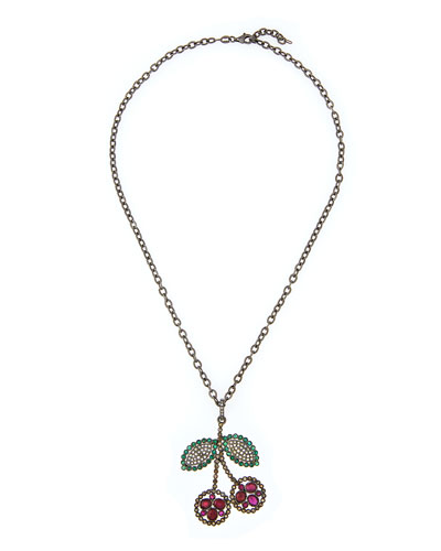 Ruby Cherry Pendant Necklace with Emeralds & Diamonds