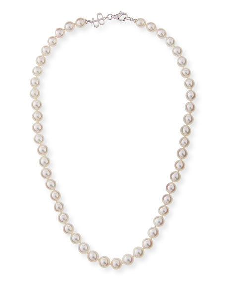 "8.5mm Akoya Pearl Necklace in 18K White Gold, 18""L"